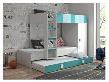 Hochbett mit Ausziehbett und Kleiderschrank, 90 x 200 cm