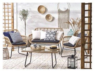 4-Sitzer Lounge-Set Sighni aus Rattan mit Polster