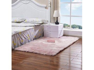 Handgefertigter Shaggy-Teppich Malachy aus Schaffell in Rosa