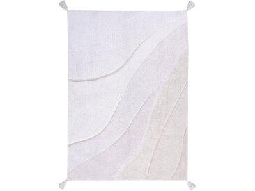 Handgefertigter Flachgewebe-Teppich aus Baumwolle in Weiß