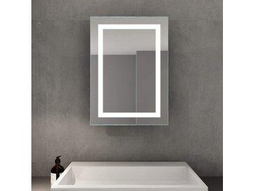 Perspections LED Spiegelschrank 70 X 50 X 13 Cm Hochglanz Badezimmerspiegel - Badschrank Mit Schiebetürr, Mit Antibeschlag-Funktion