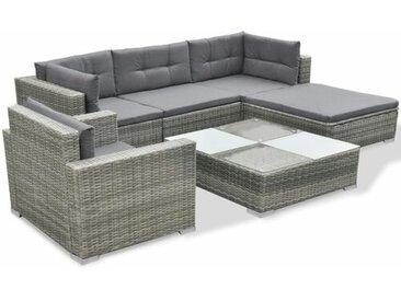 5-Sitzer Lounge-Set Lynette aus Polyrattan mit Polster