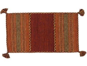 Handgefertigter Kelim-Teppich aus Baumwolle in Rot/Orange