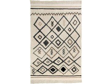 Handgefertigter Flachgewebe-Teppich aus Baumwolle in Natur