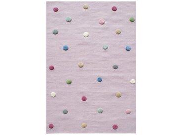 Handgefertigter Kinderteppich aus Wolle in Rosa
