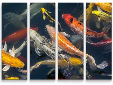 4-tlg.Leinwandbilder-SetKoi Fische im Teich
