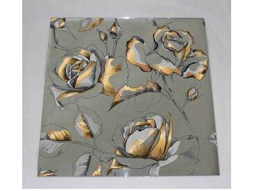 Wandspiegel Goldene Rose und Blumen