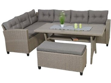 5-Sitzer Lounge-Set Humzah aus Polyrattan mit Polster