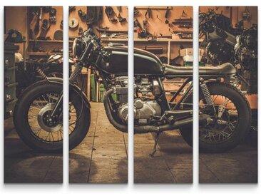 4-tlg.Leinwandbilder-SetCafe Racer Motorrad in Garage