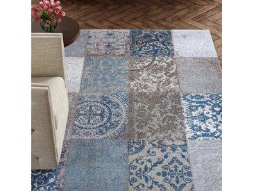 Teppich Vintage aus Wolle in Blau