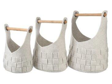 3-tlg. Korb-Set aus Rattan