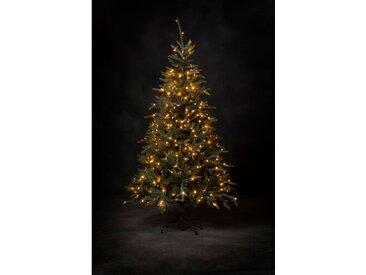 Künstlicher Weihnachtsbaum 198 cm Grün mit 400 LED-Leuchten in Transparent/Weiß und Ständer Brest