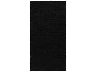 Handgefertigter Teppich aus Baumwolle in Schwarz