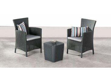 2-Sitzer Lounge Set Napoli aus Polyrattan mit Polster