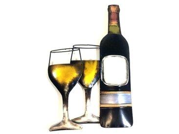 Wanddekoration Weinflasche und Gläser