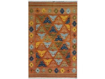 Handgefertigter Kelim-Teppich aus Wolle in Braun/Orange