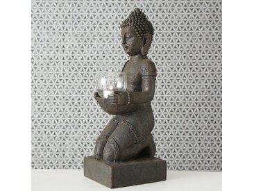 Windlicht Buddha aus Kunststoff und Glas
