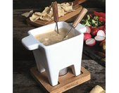 2 L Fondue-Set Tapas aus Keramik, Edelstahl und Holz