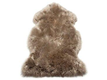 Handgefertigter Teppich Kadin aus Schaffell in Taupe