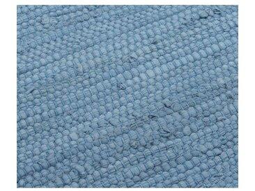Handgefertigter Teppich aus Baumwolle in Eternity-Blau