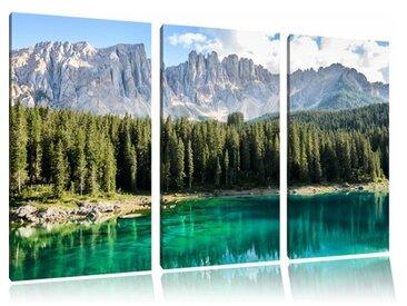 "3-tlg. Leinwandbilder-Set ""Wunderschöner klarer Bergsee"", Fotodruck"