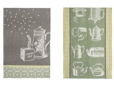 2-tlg. Geschirrtücher-Set Tee und Teekannen