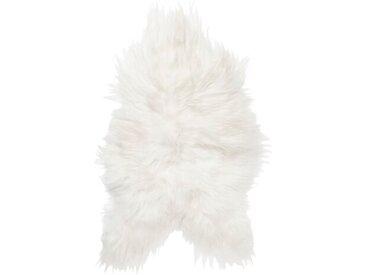 Teppich Chafin aus Lammfell und Wolle in Weiß