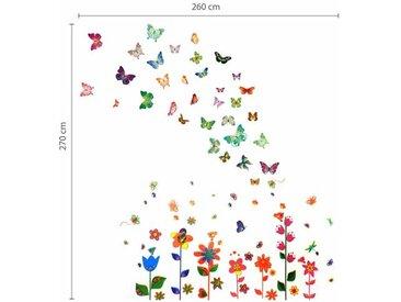 Wandsticker Papierkunst bunte Blumen und Schmetterlinge