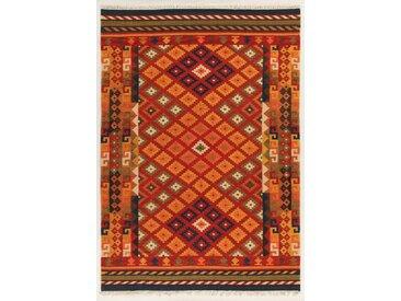 Handgefertigter Kelim-Teppich aus Wolle/Baumwolle in Rot