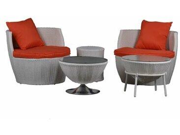 2-Sitzer Lounge-Set aus Polyrattan mit Polster Sterrett