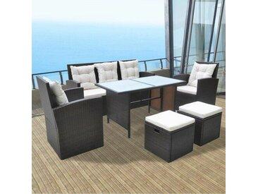 7-Sitzer Sofa-Set Glenwood aus Polyrattan mit Polster
