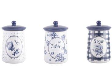 3-tlg. Kaffee, Tee & Zucker Dosen-Set Vintage Indigo