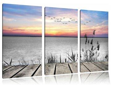 """3-tlg. Leinwandbilder-Set """"Steg mit Ausblick auf das Meer"""", Fotodruck"""