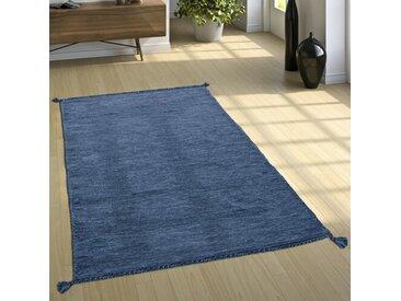 Handgefertigter Kelim-Teppich Crowborough aus Baumwolle in Blau