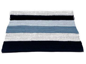 Handgefertigter Teppich aus Baumwolle in Weiß/Blau