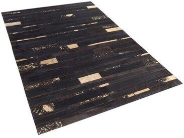 Handgefertigter Teppich aus Baumwolle in Braun/Gelb