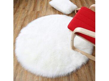 Handgefertigter Shaggy-Teppich Eleanor aus Schaffell in Weiß