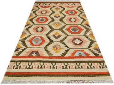Handgefertigter Kelim-Teppich aus Wolle in Grün/Beige