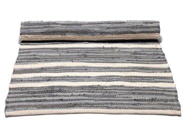 Handgefertigter Teppich aus Baumwolle in Grau