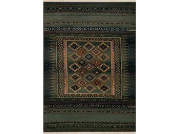 Kelim-Teppich aus Wolle in Grün/Schwarz