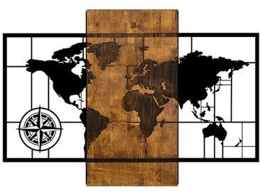 Wanddekoration Weltkarte mit Kompass