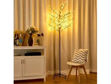 Künstlicher Weihnachtsbaum Weiß mit 220 LED-Leuchten und Ständer Snow Twig
