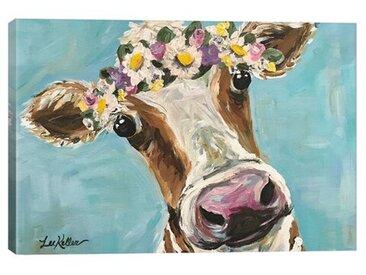 Leinwandbild Kuh mit Blumenkrone