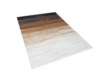 Handgefertigter Teppich Shaun aus Kuhfell in Braun/Schwarz