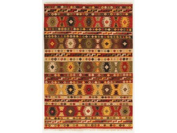 Handgefertigter Kelim-Teppich aus Wolle/Baumwolle in Rot/Gelb