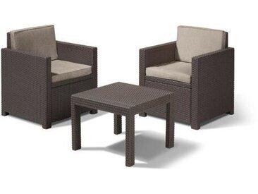 2-Sitzer Lounge-Set Rosabel aus Polyrattan mit Polster