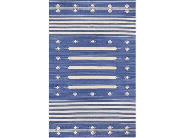 Flachgewebe-Teppich aus Baumwolle in Blau