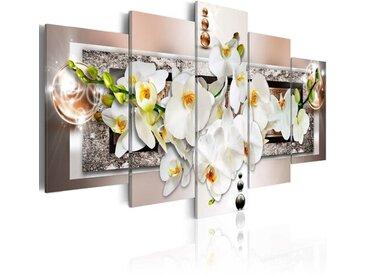 5-tlg. Leinwandbilder-Set Abstrakte Weiße Orchideen
