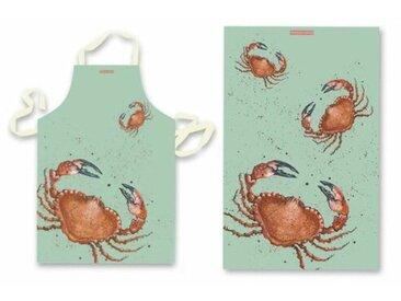 2-tlg. Schürze und Geschirrhandtuch-Set Crab