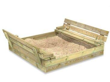 Wickey Sandkasten Flip 120X125cm Garten Kinder Sandkiste Spielplatz Mit Sitzbank Und Klappdeckel
